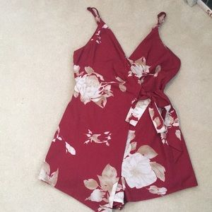 Red and White Floral Tie Romper